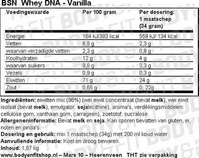 Whey DNA Nutritional Information 1