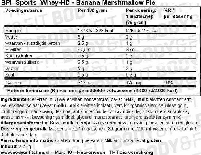 Whey HD Nutritional Information 1