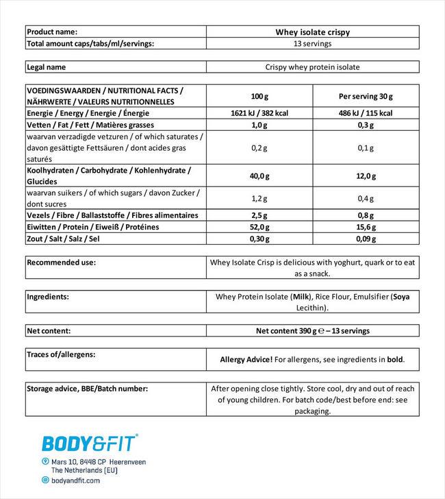 Whey Isolate Crispy Nutritional Information 3