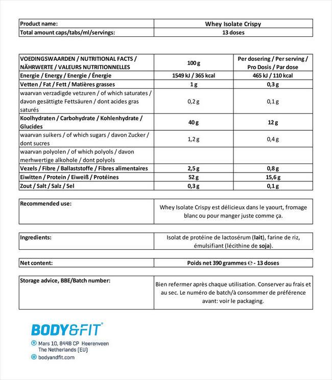 Isolat de protéines de lactosérum Whey Isolate Crispy Nutritional Information 1