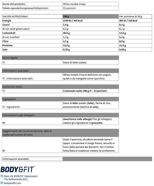 Whey Isolate Crispy Nutritional Information 1
