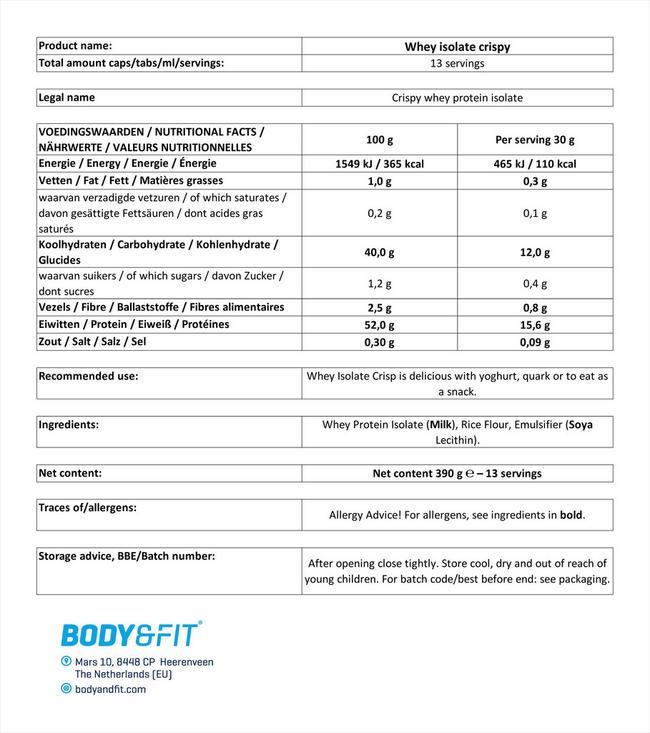 웨이 아이솔레이트 크리스피 Nutritional Information 1