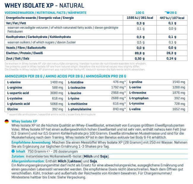 Whey Isolate XP Nutritional Information 2