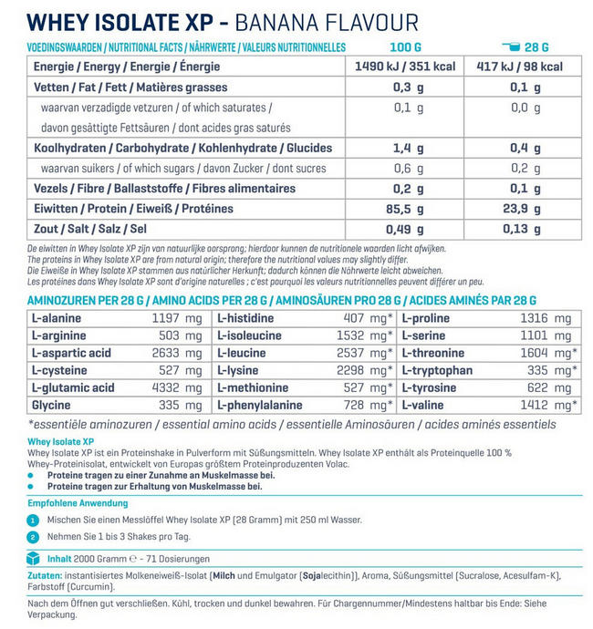 Whey Isolate XP Nutritional Information 3