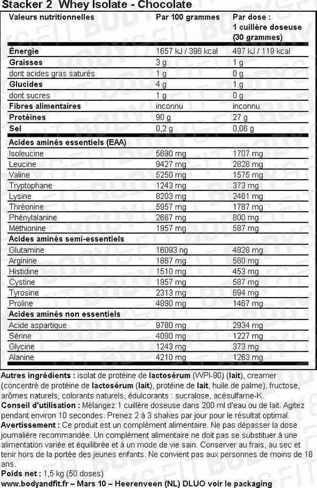 Whey Isolate - Stacker 2 Nutritional Information 2