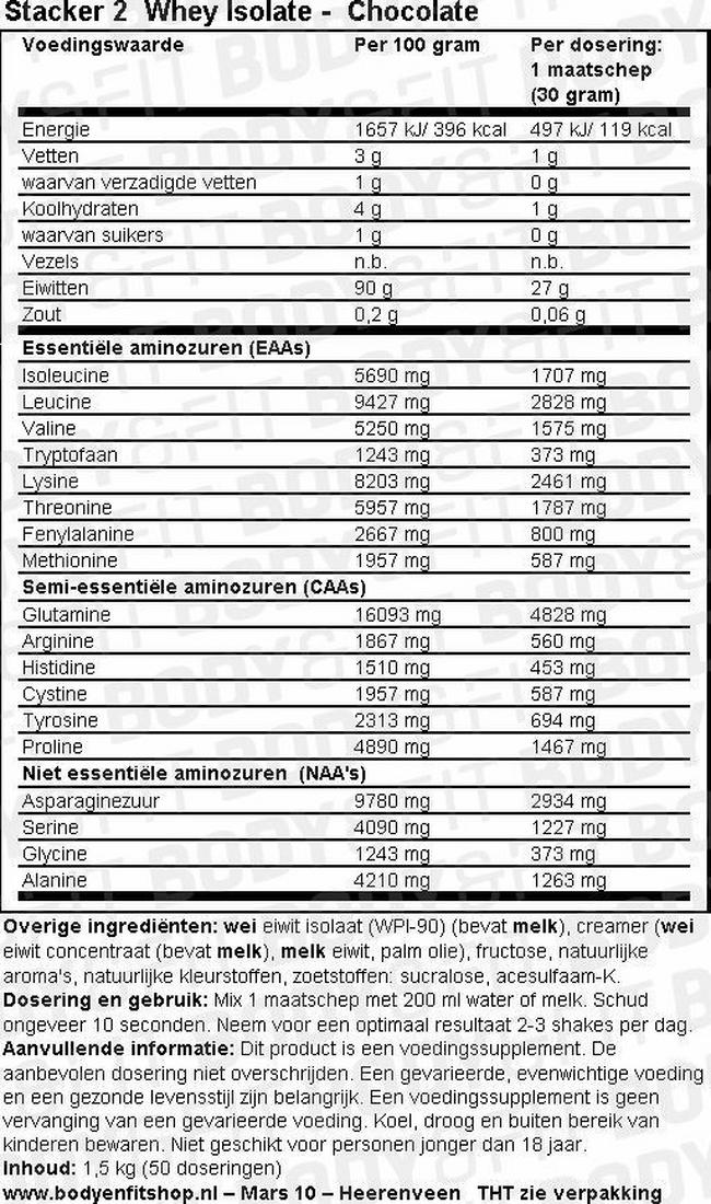 Whey Isolate - Stacker 2 Nutritional Information 1