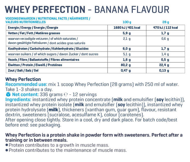Whey Perfection Nutritional Information 4