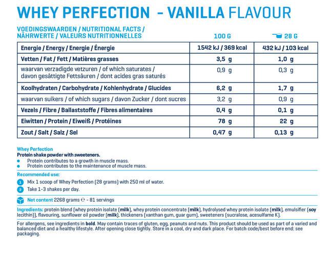웨이 퍼펙션 Nutritional Information 1