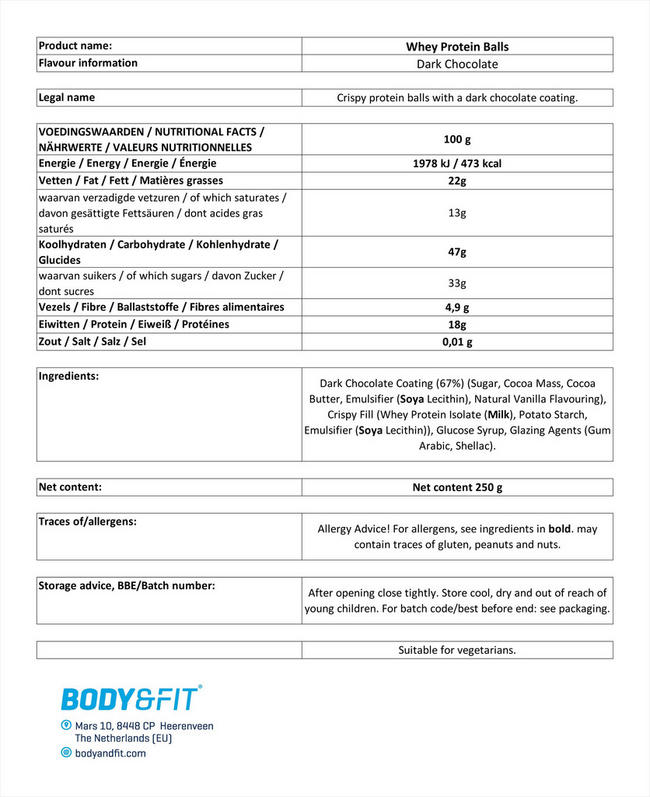 ホエイ プロテインボール Nutritional Information 1