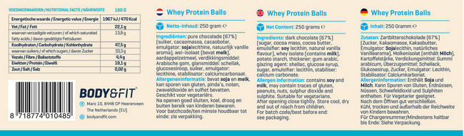 Whey Protein Balls Nutritional Information 1