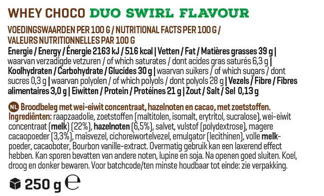 Whey Choco Nutritional Information 1