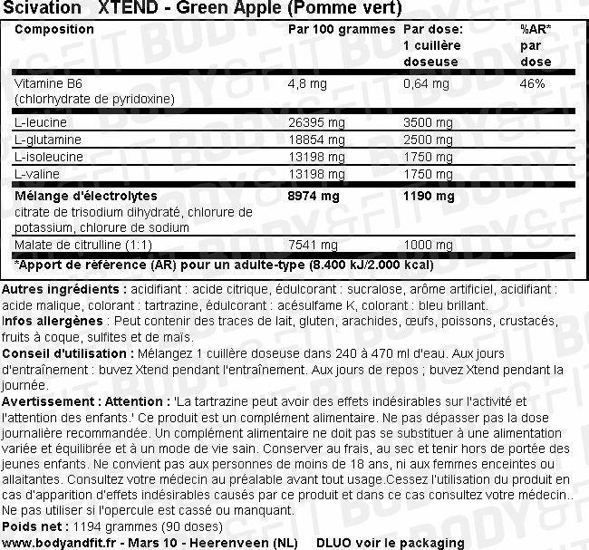 XTEND Nutritional Information 1
