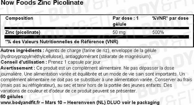 Zink Picolinaat Nutritional Information 1