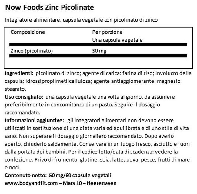 Zinco picolinato Nutritional Information 1