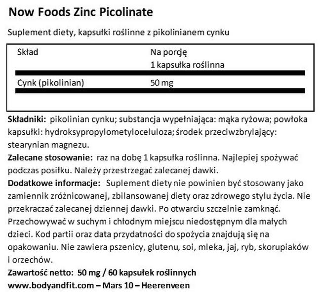 Pikolinian cynku Nutritional Information 1