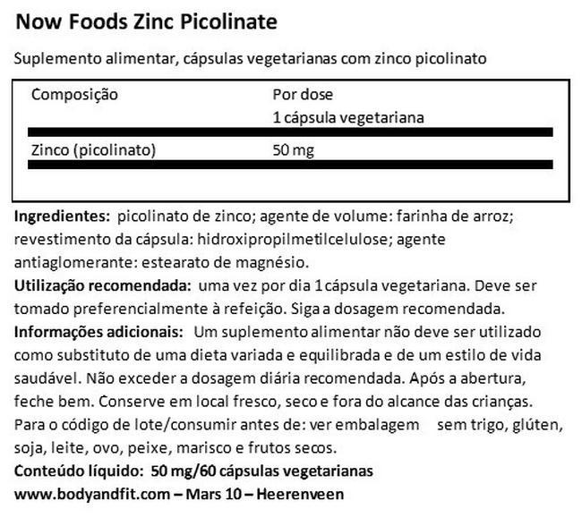 Picolinato de zinco Nutritional Information 1