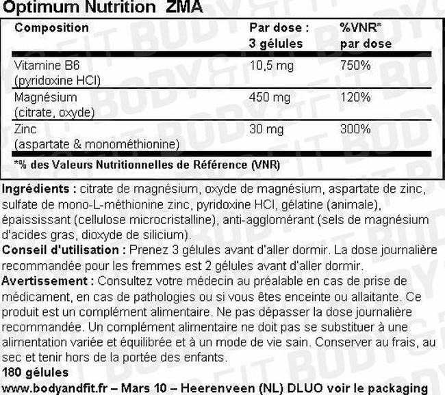 ZMA Nutritional Information 2