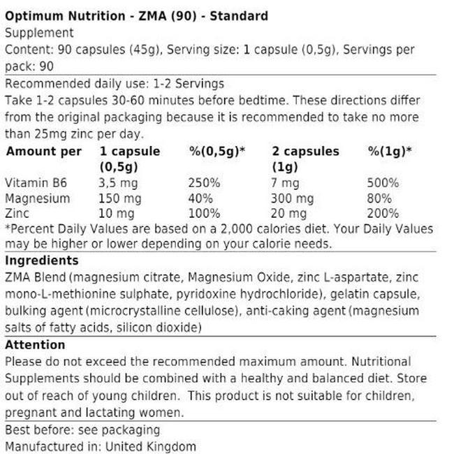 ZMA Nutritional Information 4