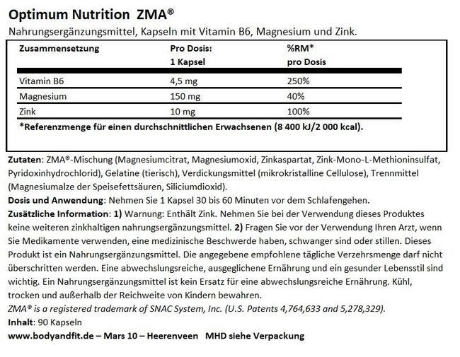 ZMA Nutritional Information 1