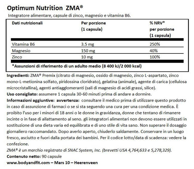ZMA Nutritional Information 1